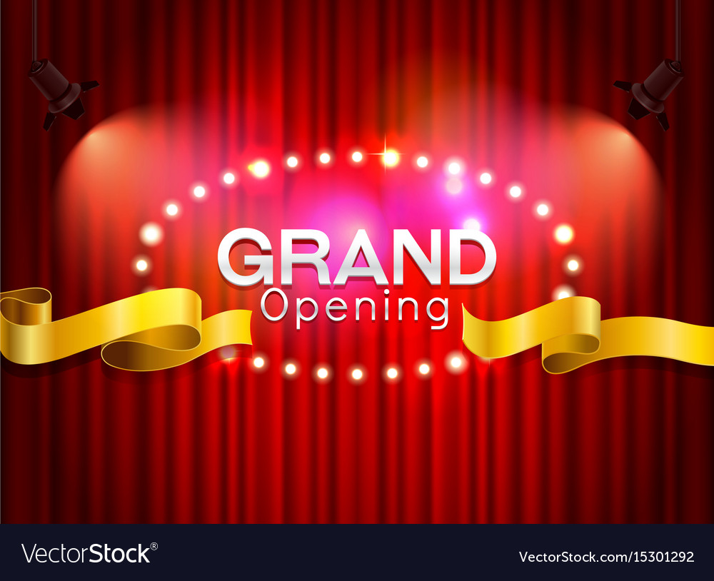 Grand opening cutting red ribbon on curtain with