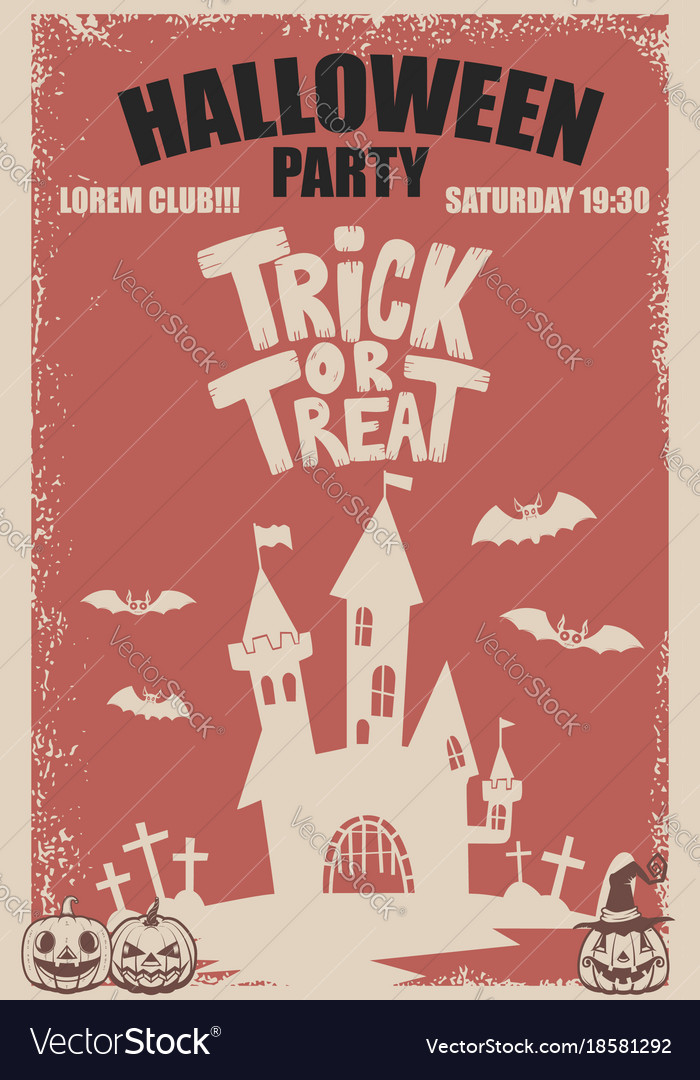 Halloween party poster template scary castletrick