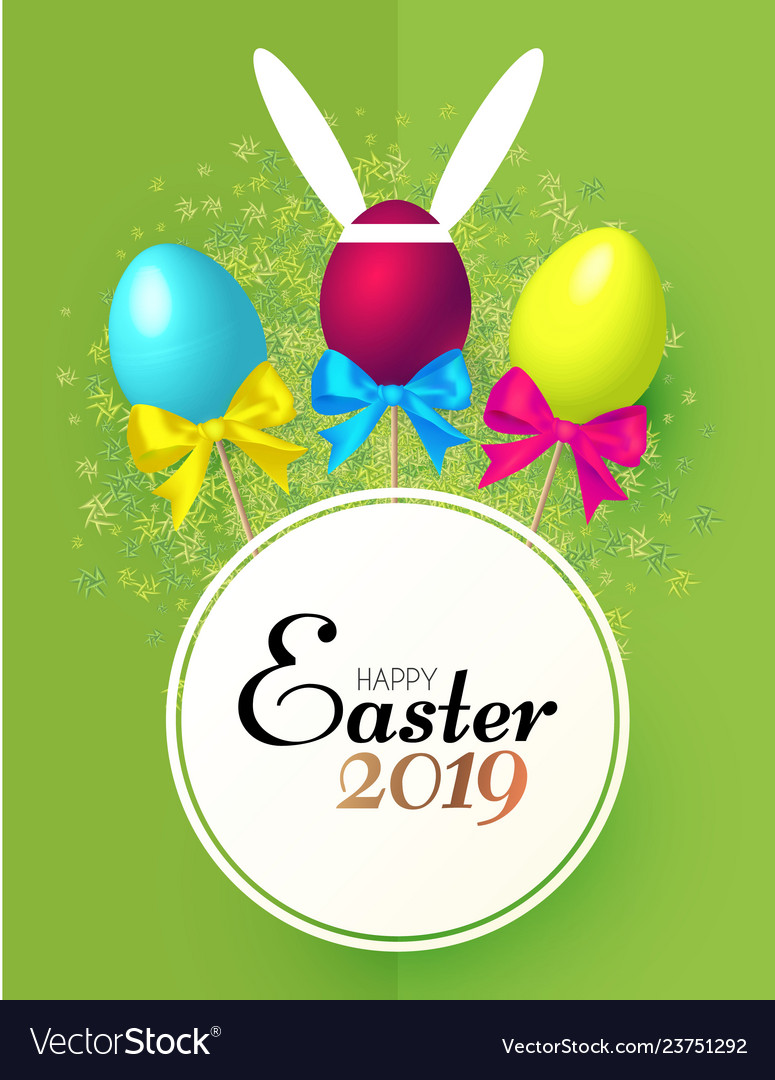 Happy easter card template with realistic eggs