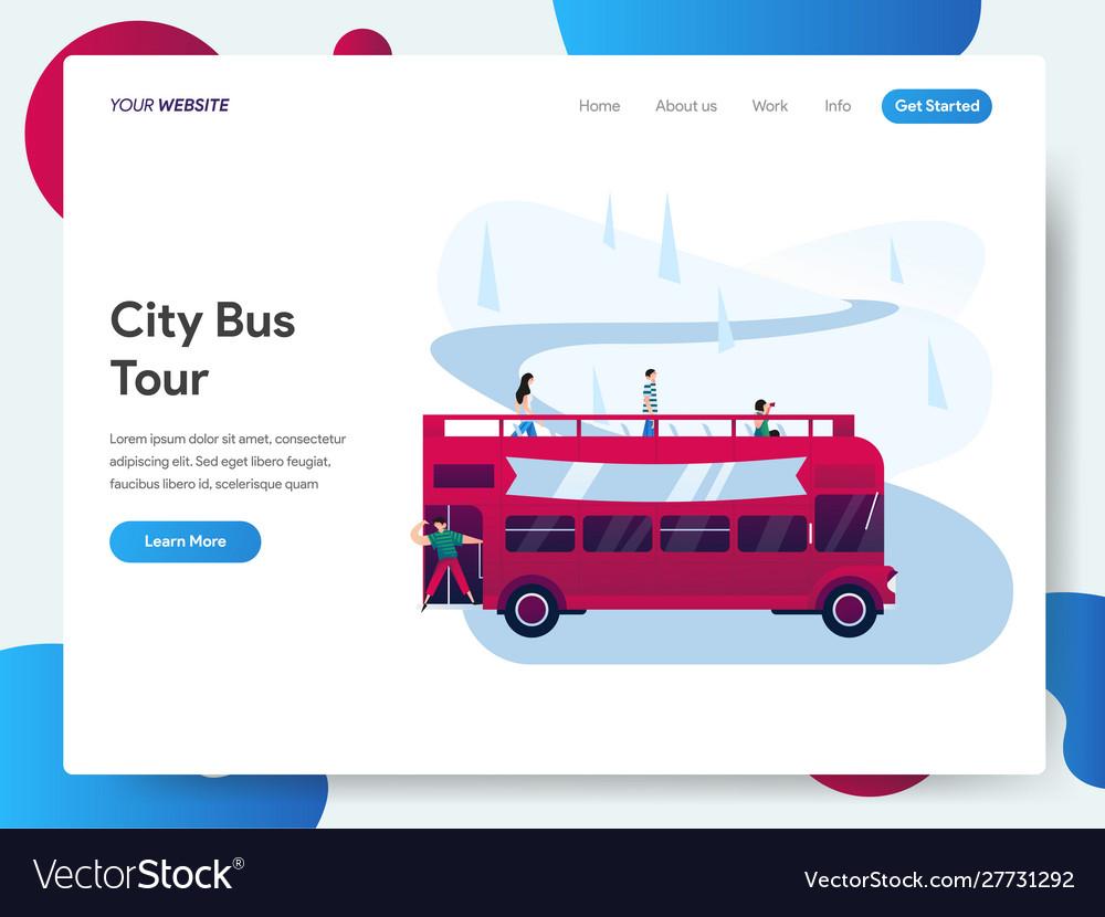 Landing page template city bus tour concept