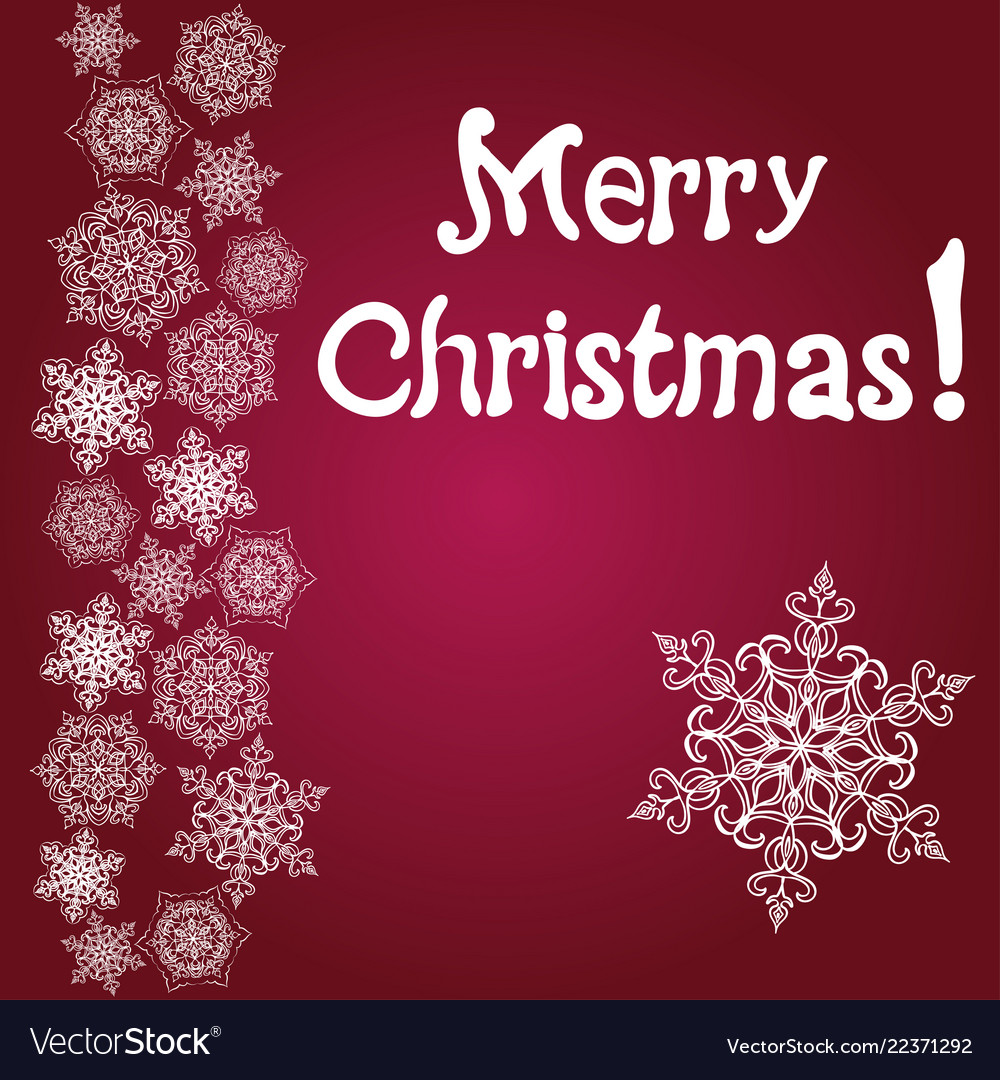Merry christmas card and snowflake decoration