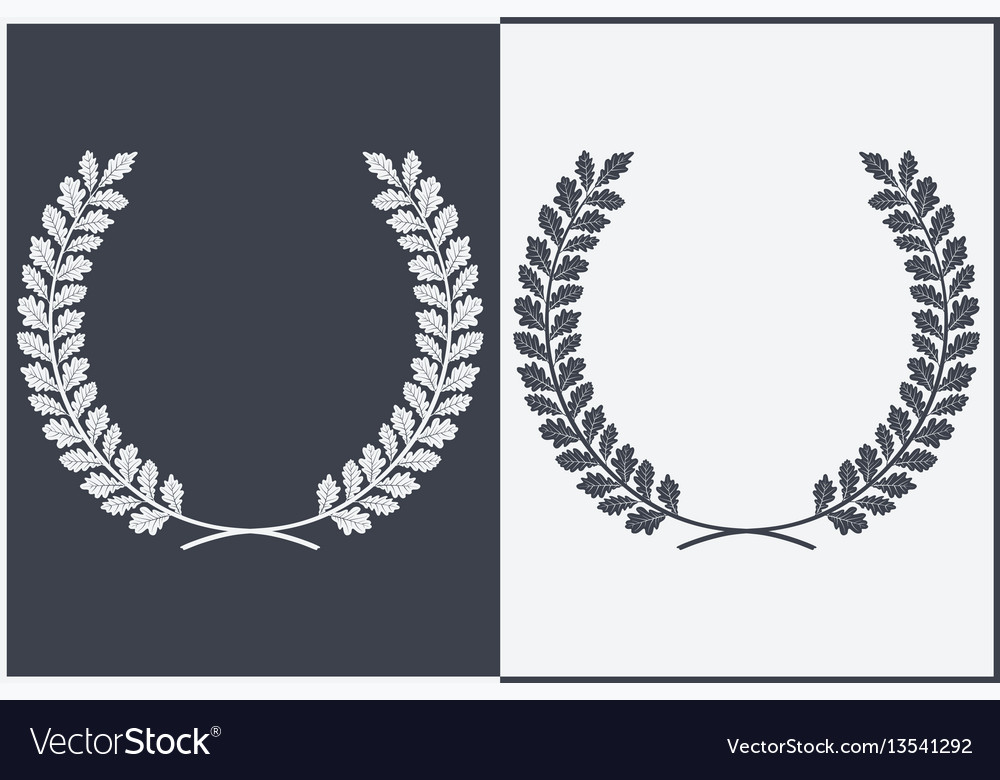 Oak wreath silhouette leaves and branches round vector image