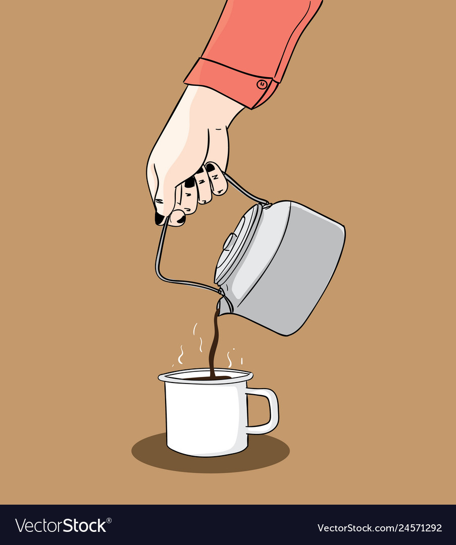 One hand holds a kettle with coffee color