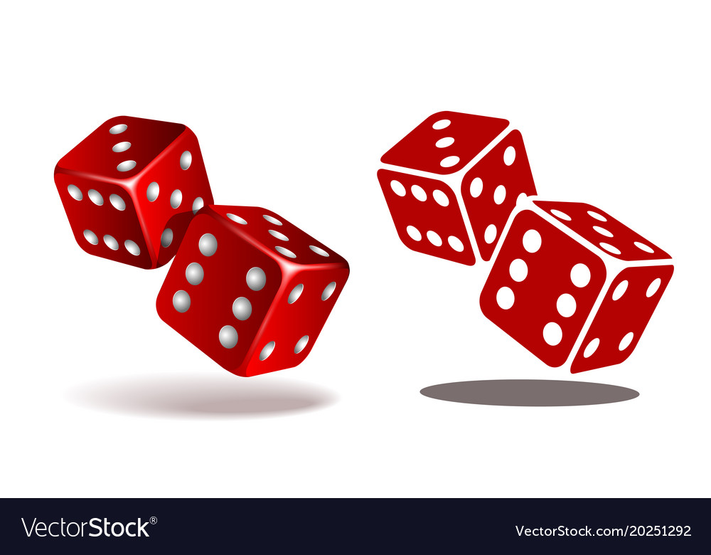 Red dice with white pips on the white background