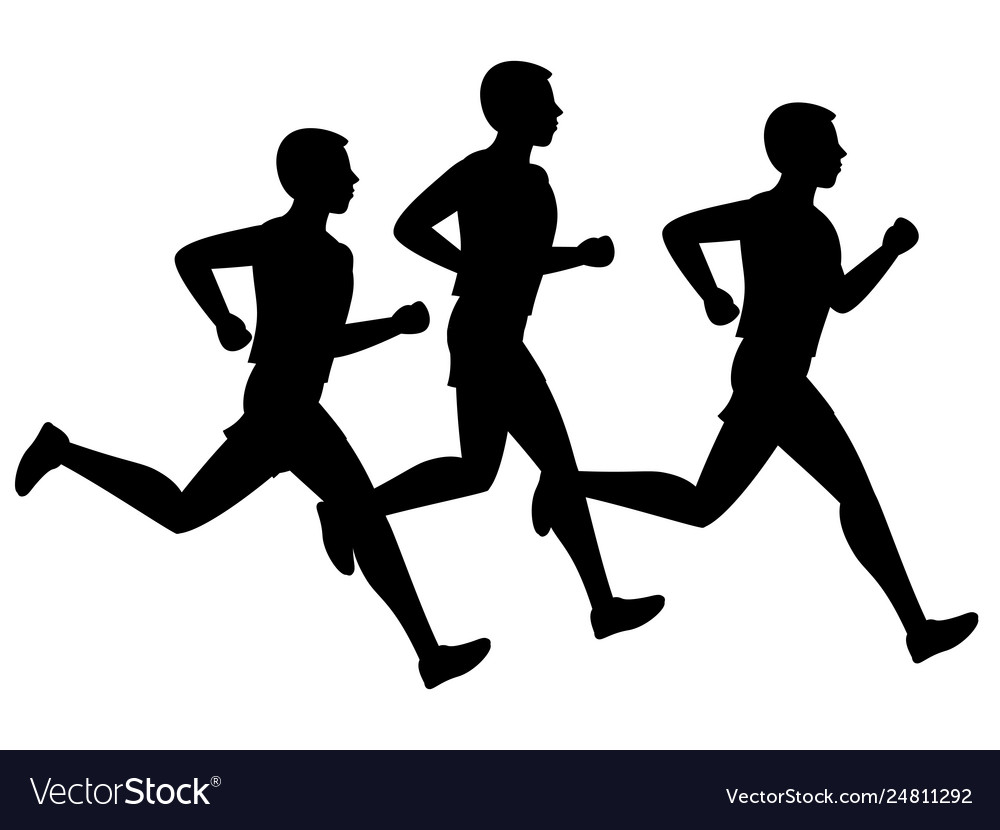 Running or jogging male silhouettes