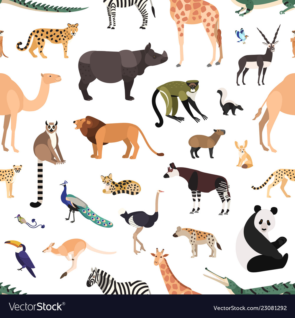 Seamless pattern with exotic animals and birds on