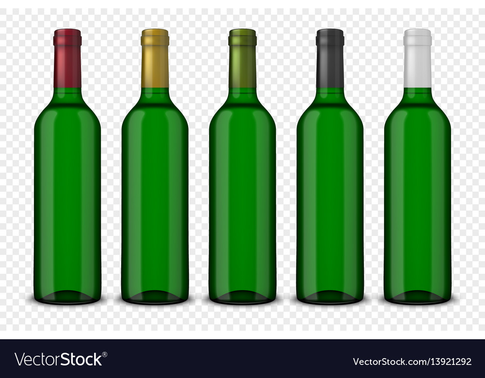 Set 5 realistic green bottles of wine