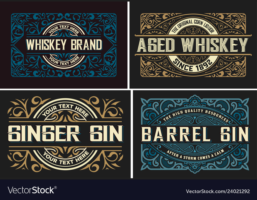 Set of 4 vintage labels ready for packing