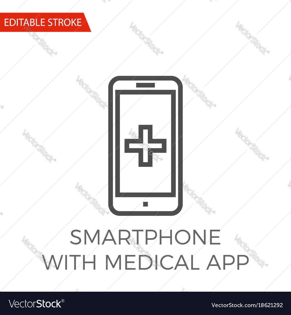 Smartphone with medical app icon