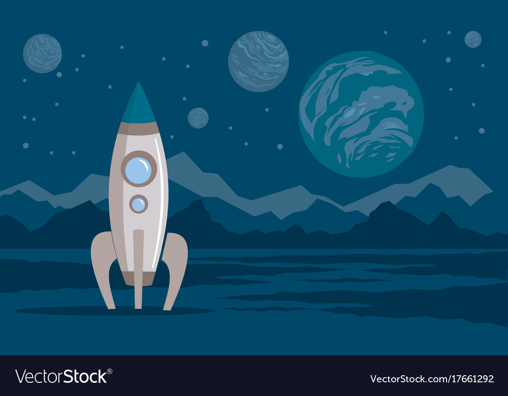 Space planets rocket lunar surface vector image