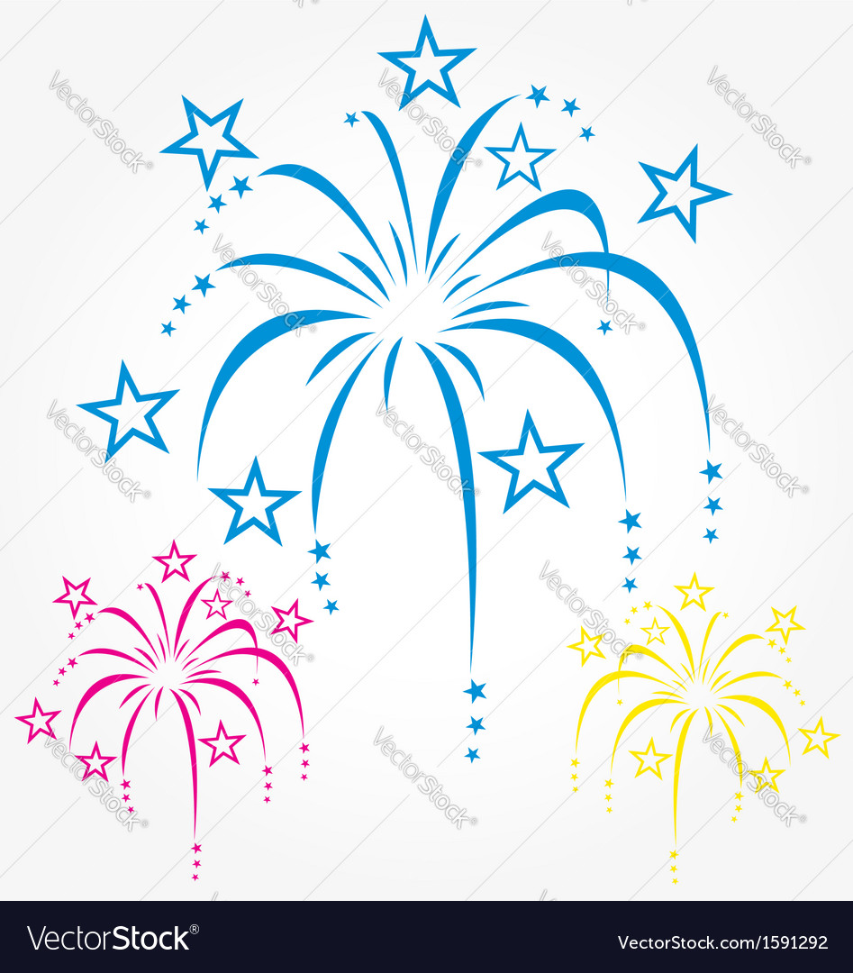 Stylized fireworks blue pink and yellow