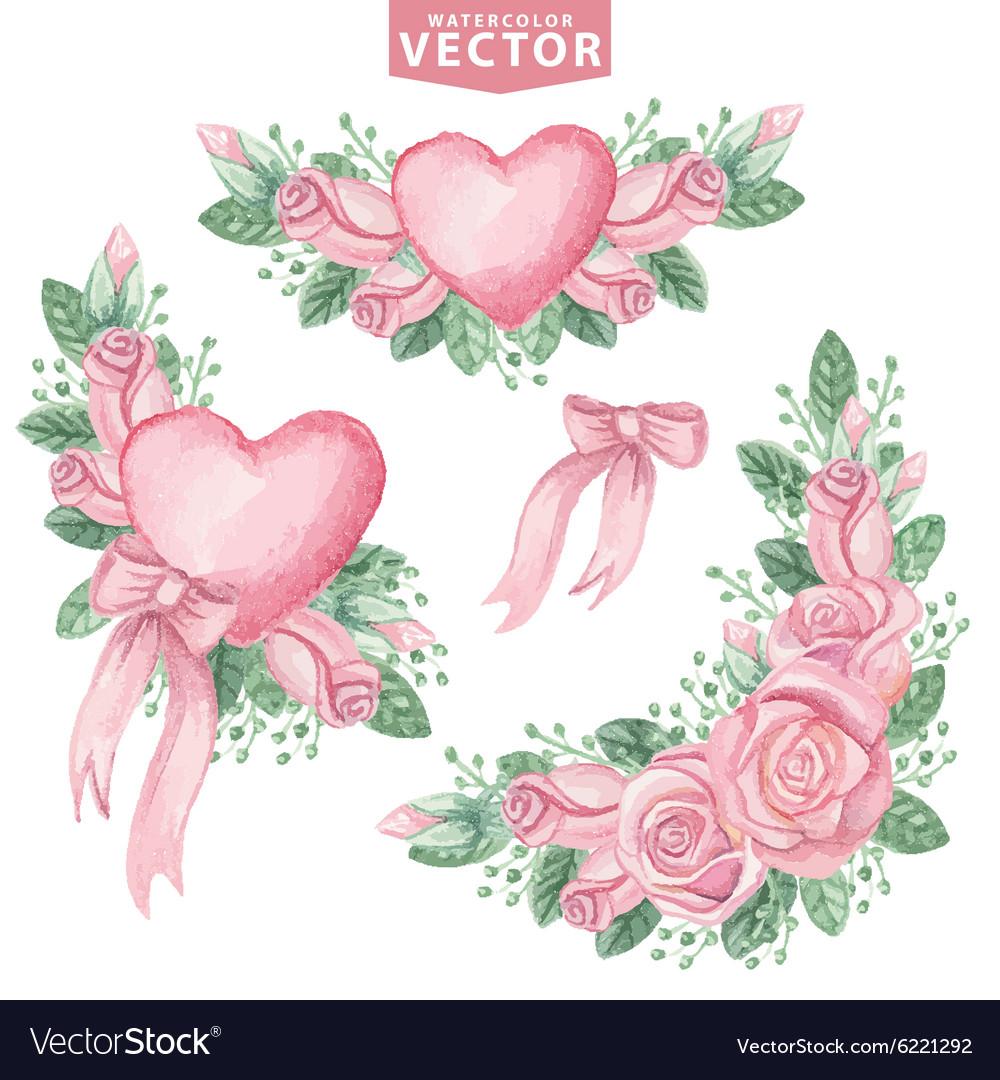 Watercolor pink roses groupCute vintage flowers vector image