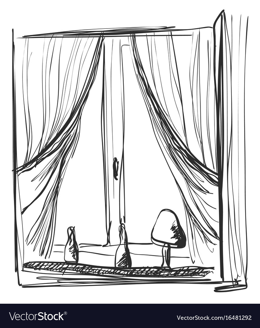 Sketch Open Window Curtains Vector Images 34
