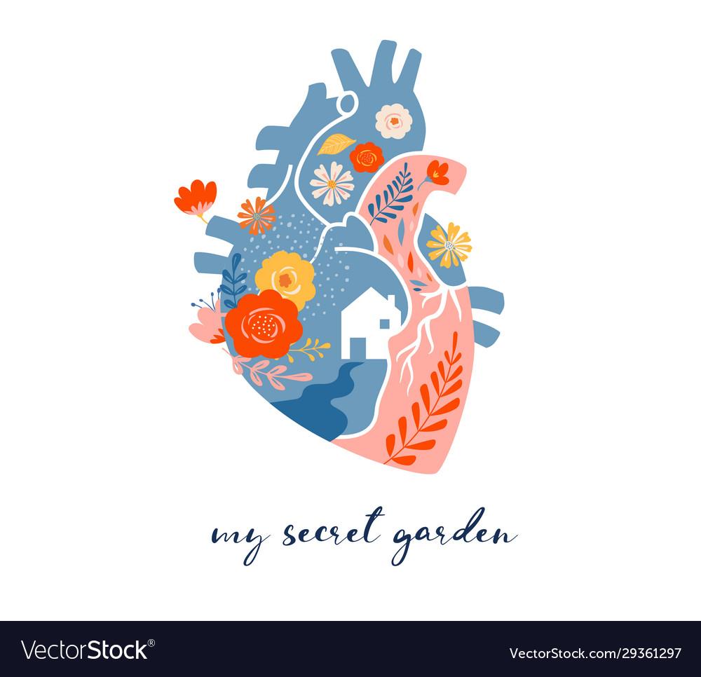 Anatomical heart modern print design art work
