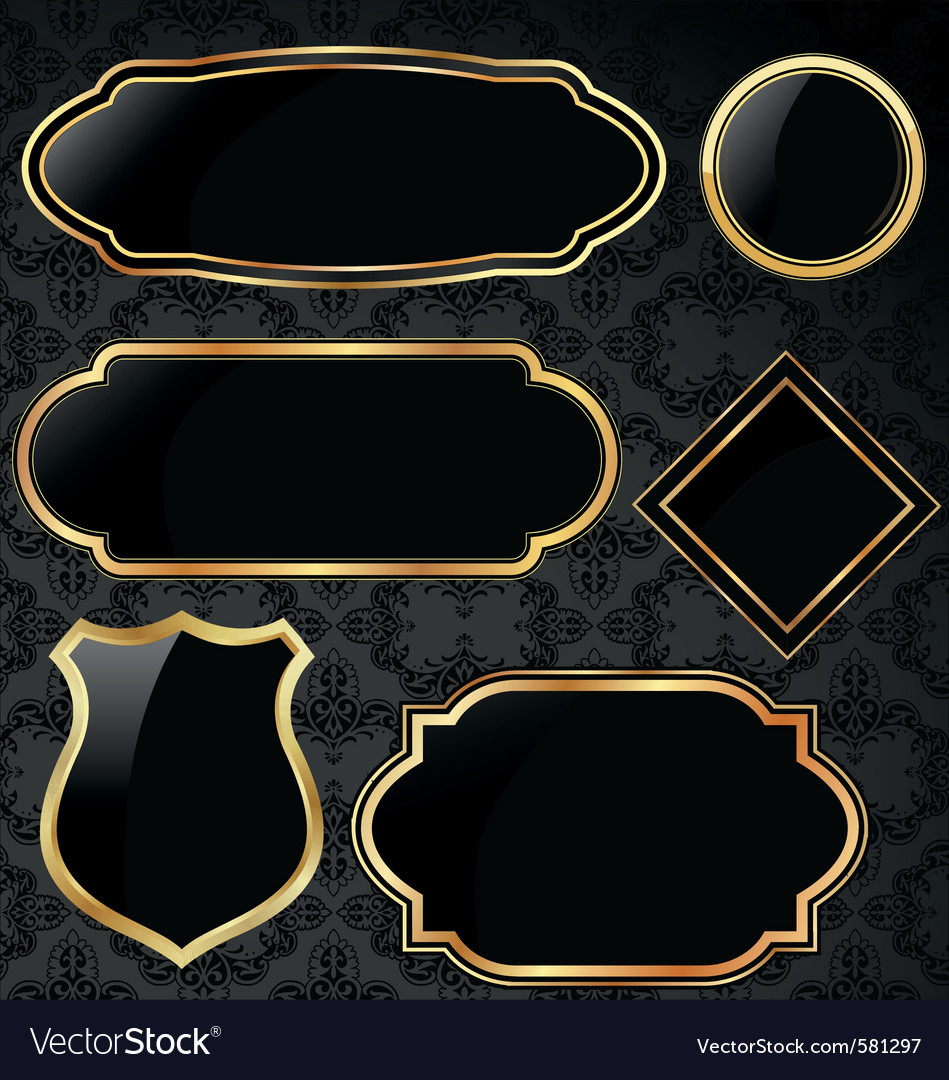 Black And Gold Vintage Frames Royalty Free Vector Image