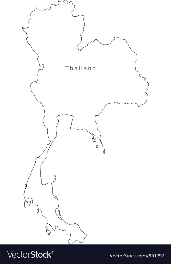 Black White Thailand Outline Map
