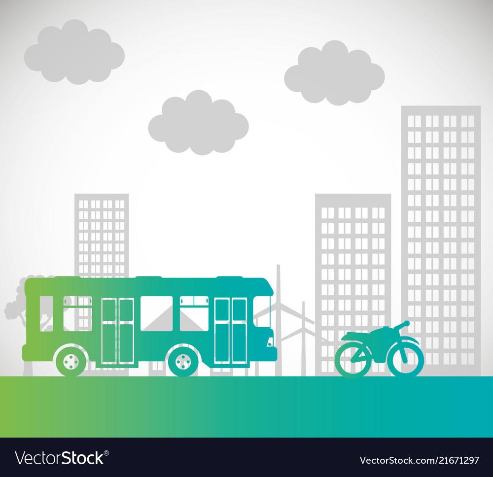 Bus motorcycle transport urban background