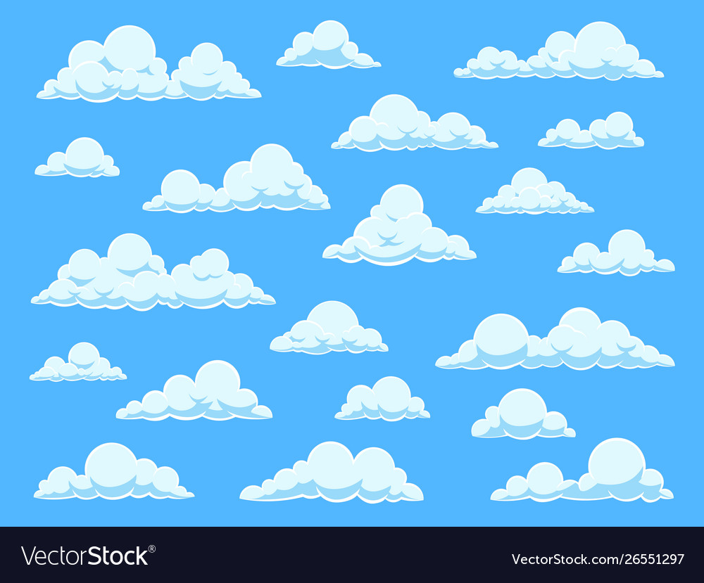 Cartoon sky clouds cloudscape in blue sky
