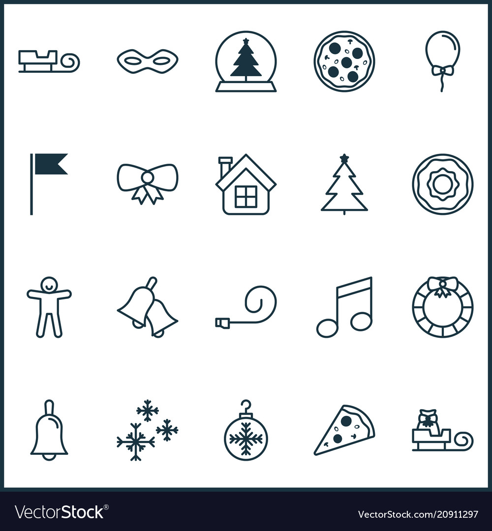 Christmas icons set with bells christmas tree