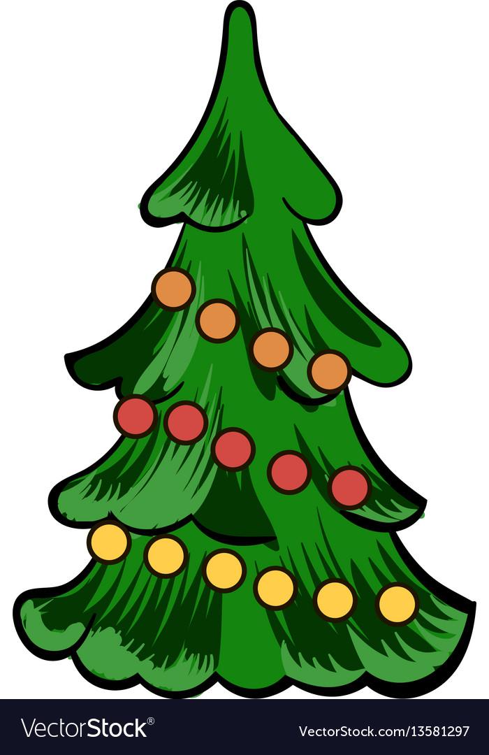 Christmas tree icon cartoon