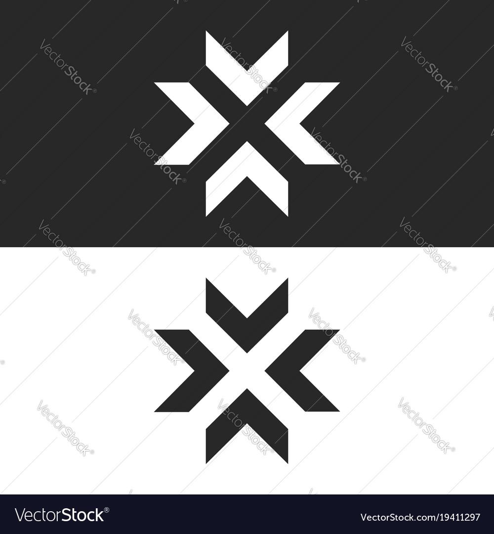 Converge arrows logo mockup letter x shape black