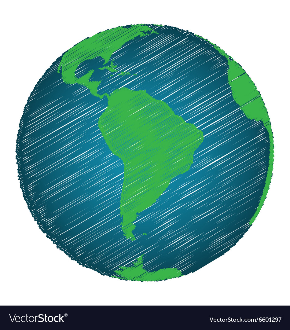 Earth Sketch Hand Draw Focus South America Vector Image