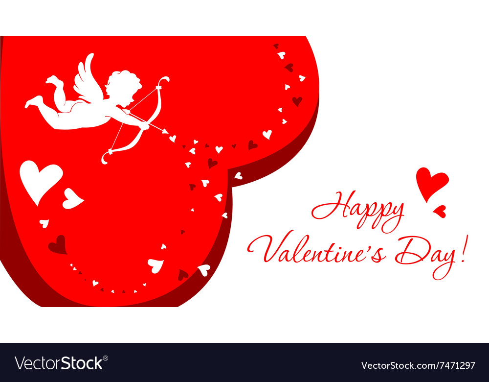 Greeting card with angel for Valentines Day