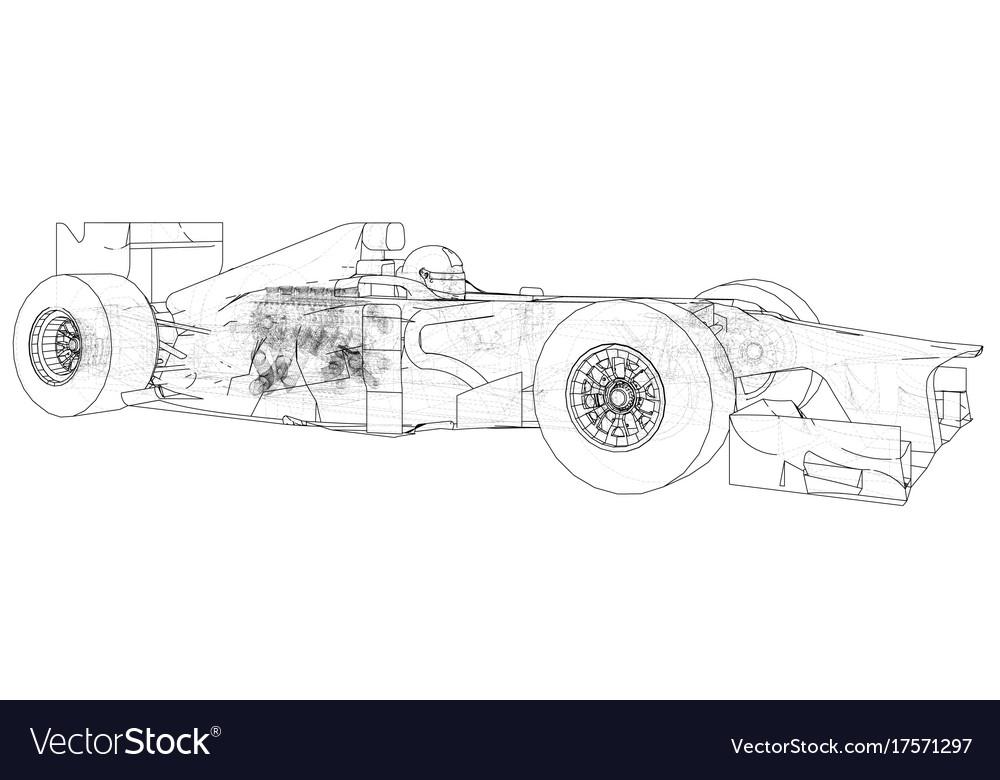 Model formula 1 car wire-frame eps10 format Vector Image
