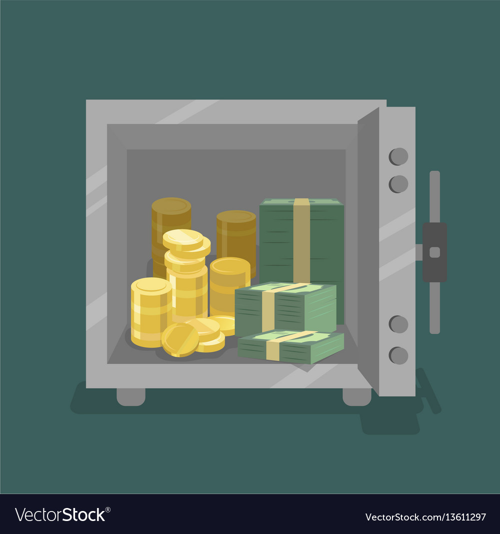 Opened safe with coins and cash in front view