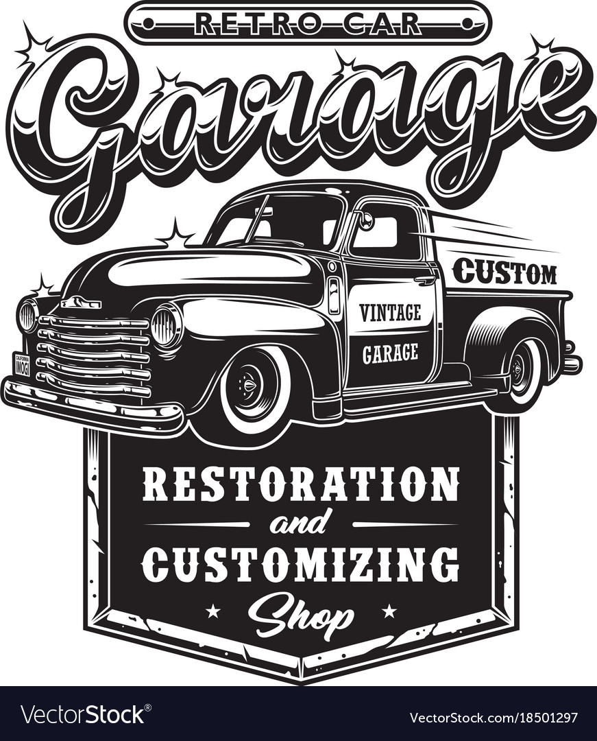 Retro car repair garage sign with retro style