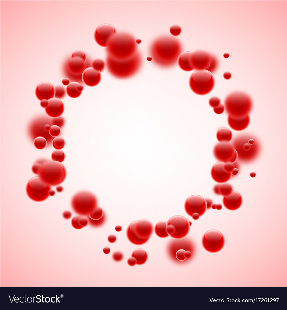 Round background with red bubbles