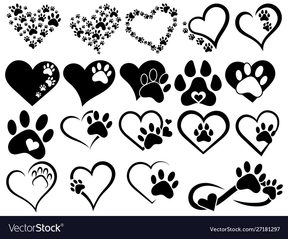 Set hearts with paws dogs and cats