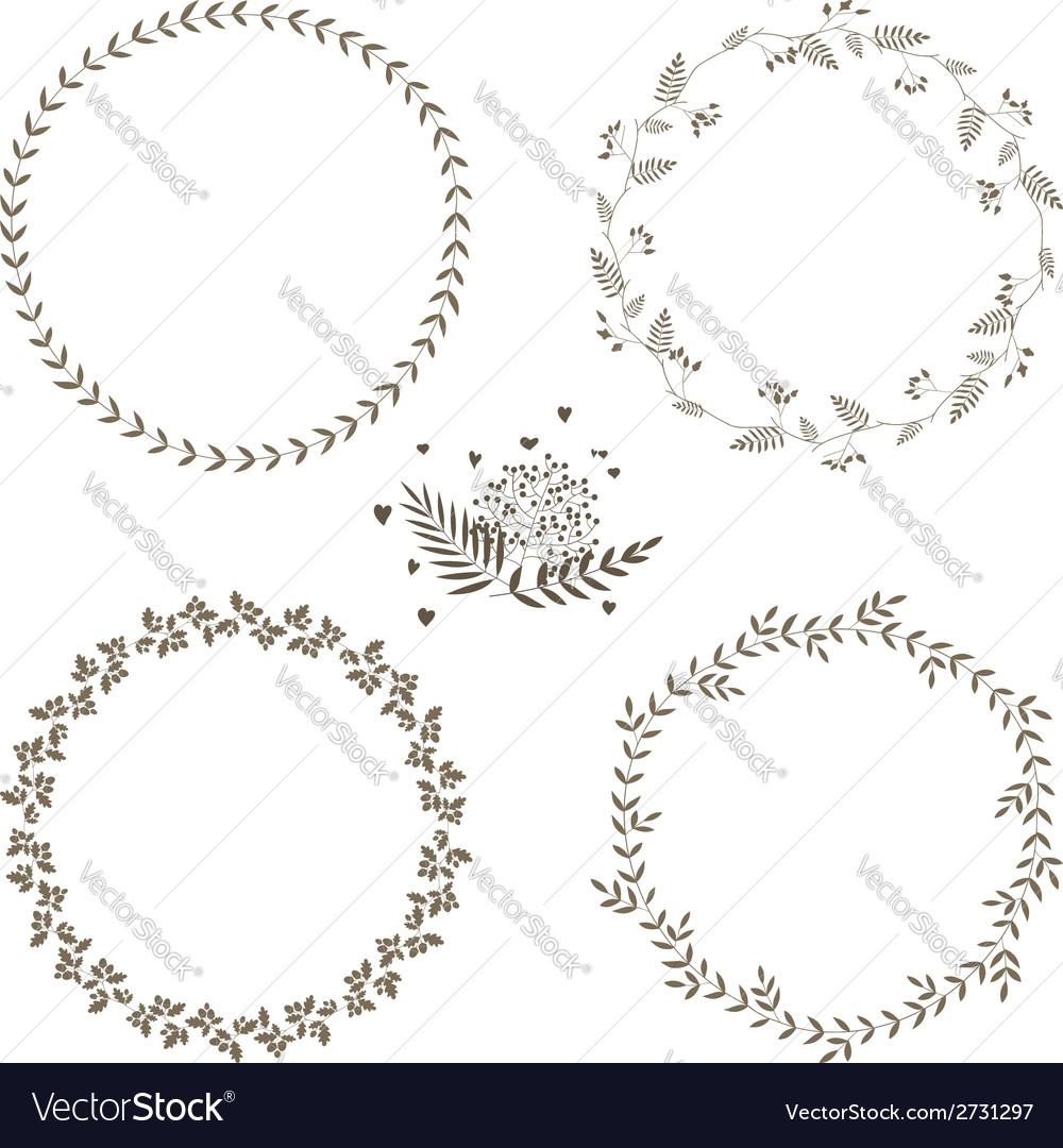 Set of 4 circle cute hand drawn frames Royalty Free Vector