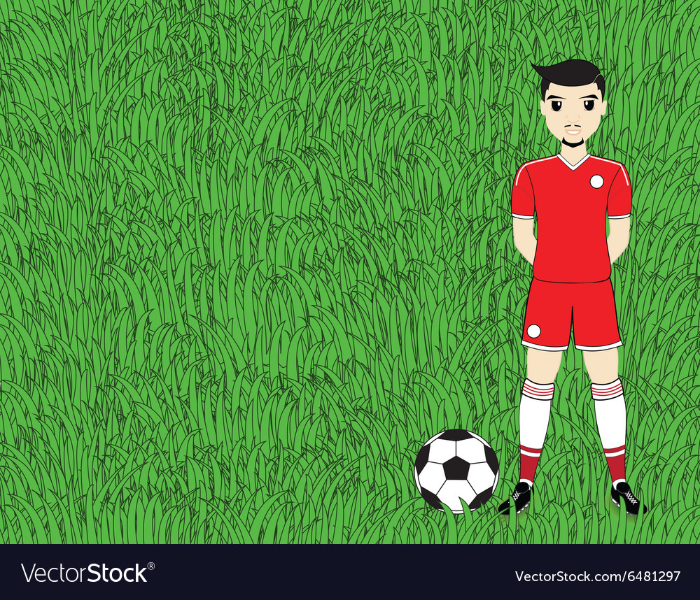 Soccer player with ball on football stadium field