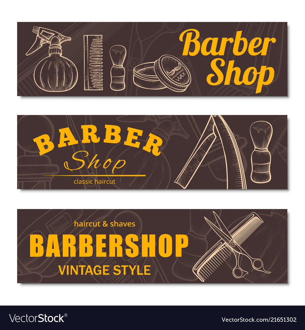 Barbershop business banner set isolated from