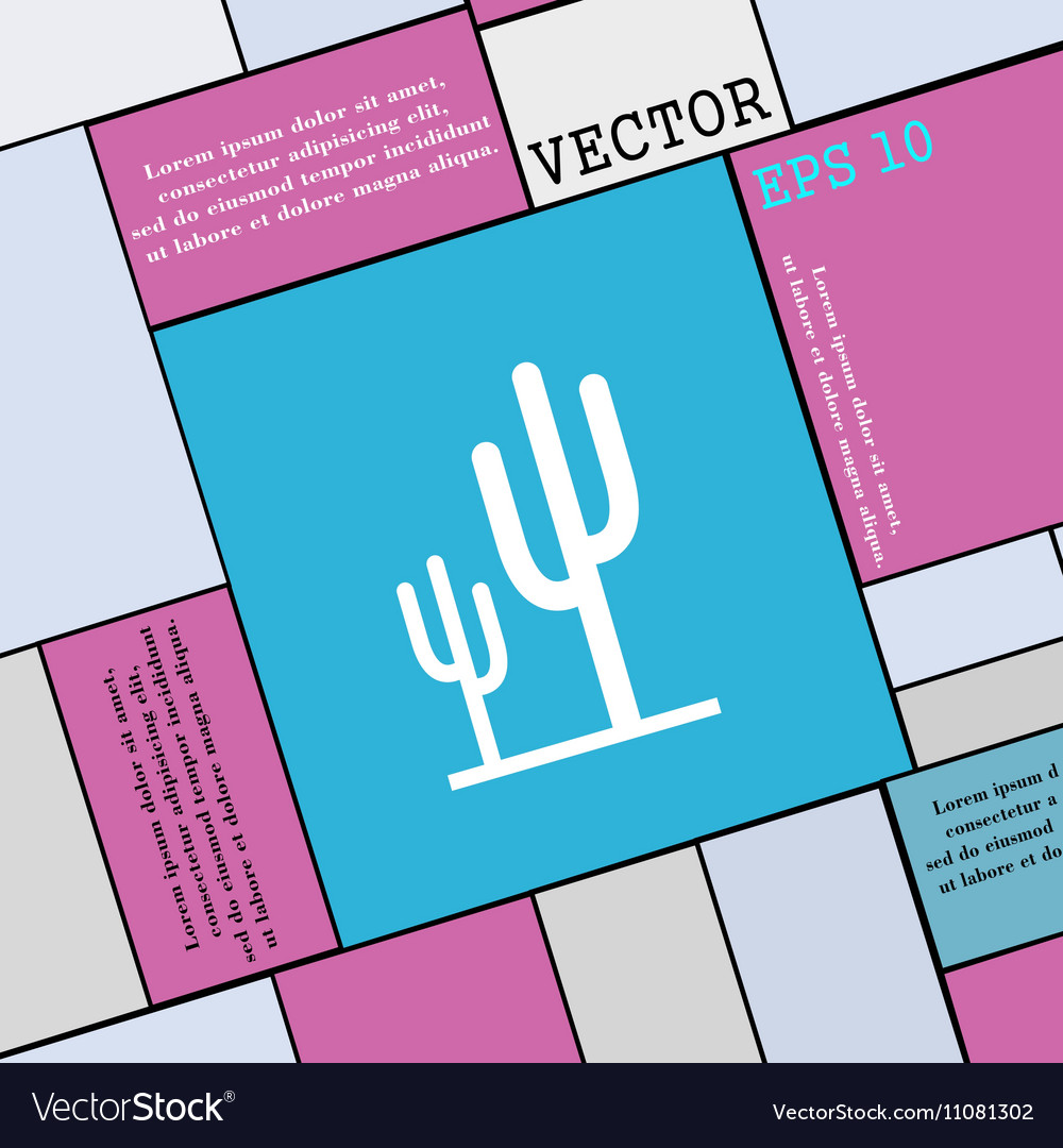 Cactus icon sign Modern flat style for your design