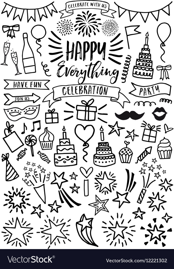 Celebration party birthday set vector image