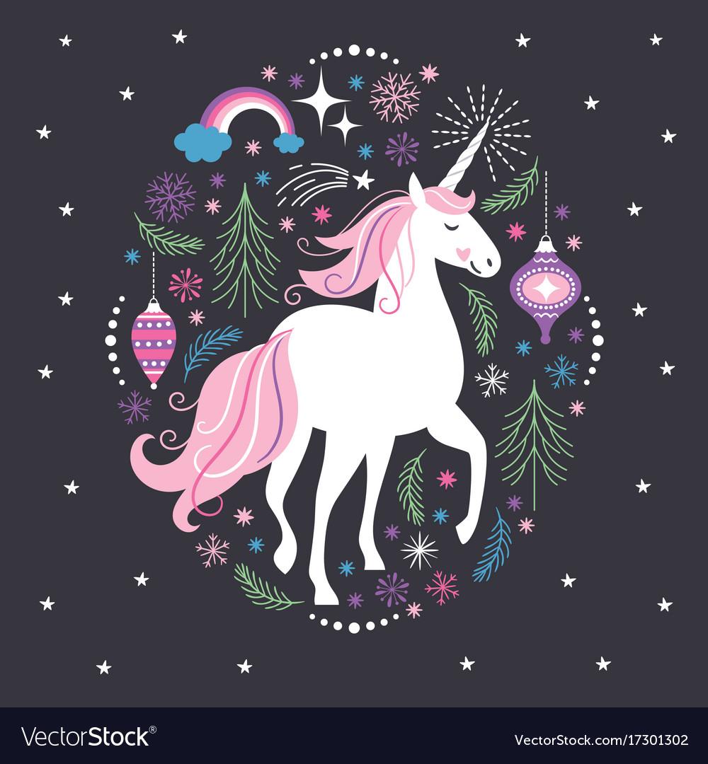 Christmas Unicorn.Christmas Card With Unicorn