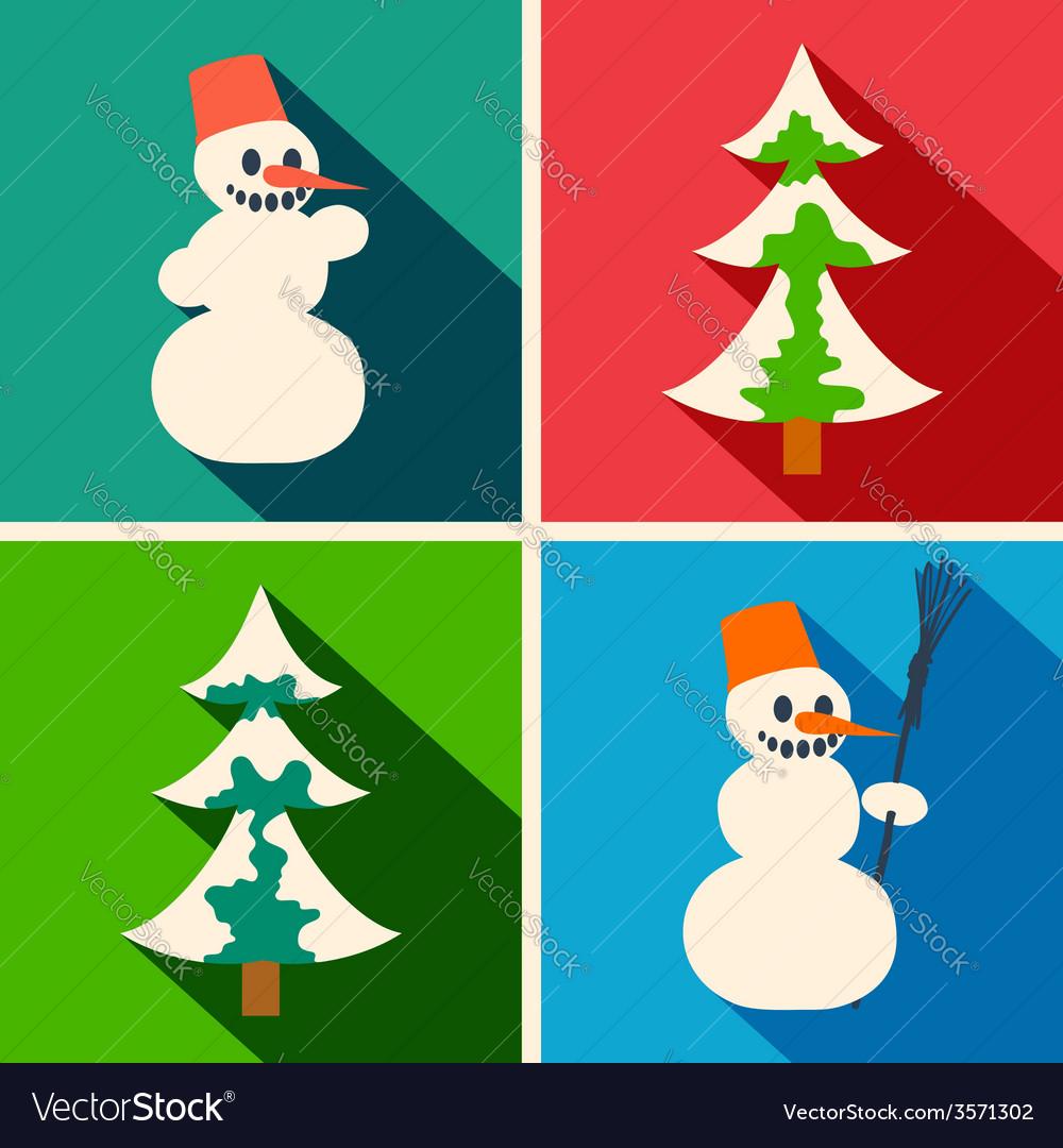 Christmas long shadow icons