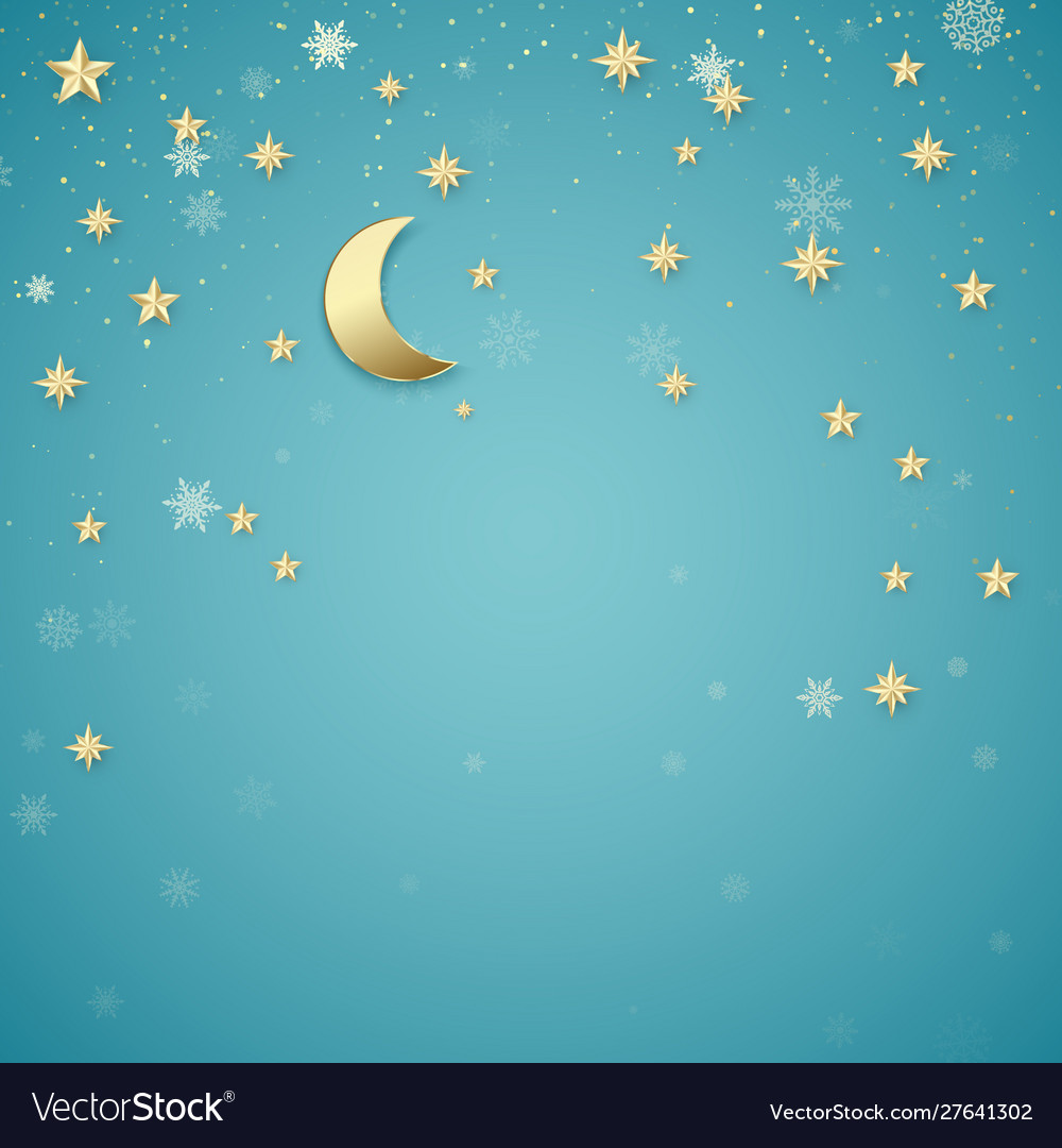 Christmas night background golden stars and