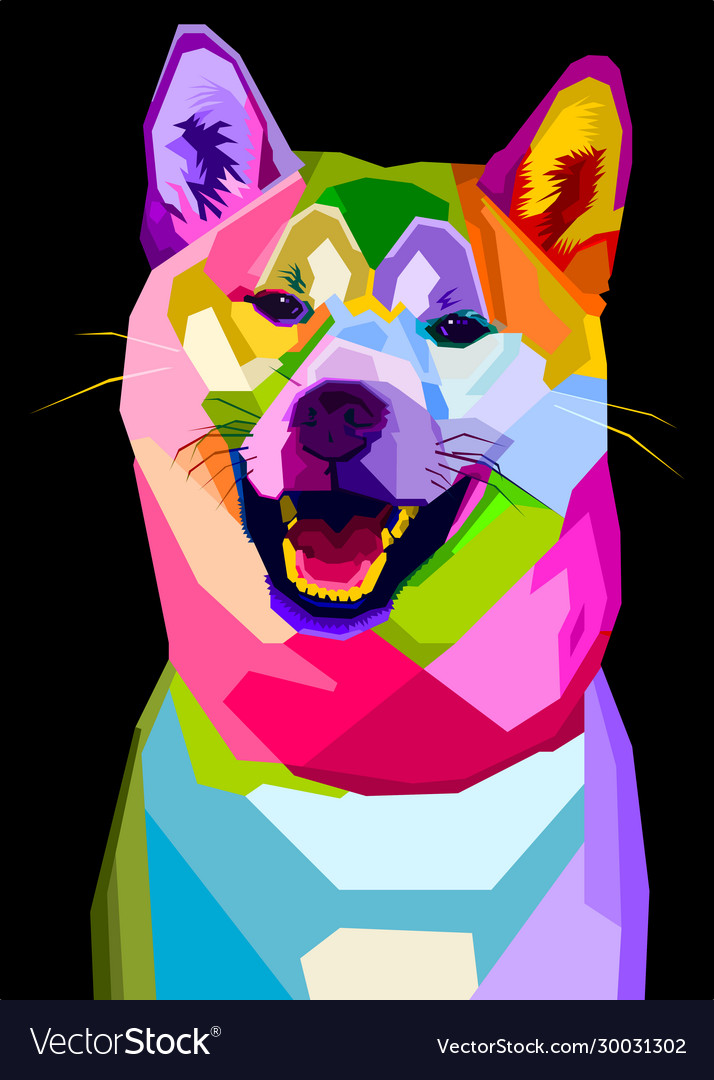 Colorful Shiba Inu Dog On Pop Art Style Royalty Free Vector