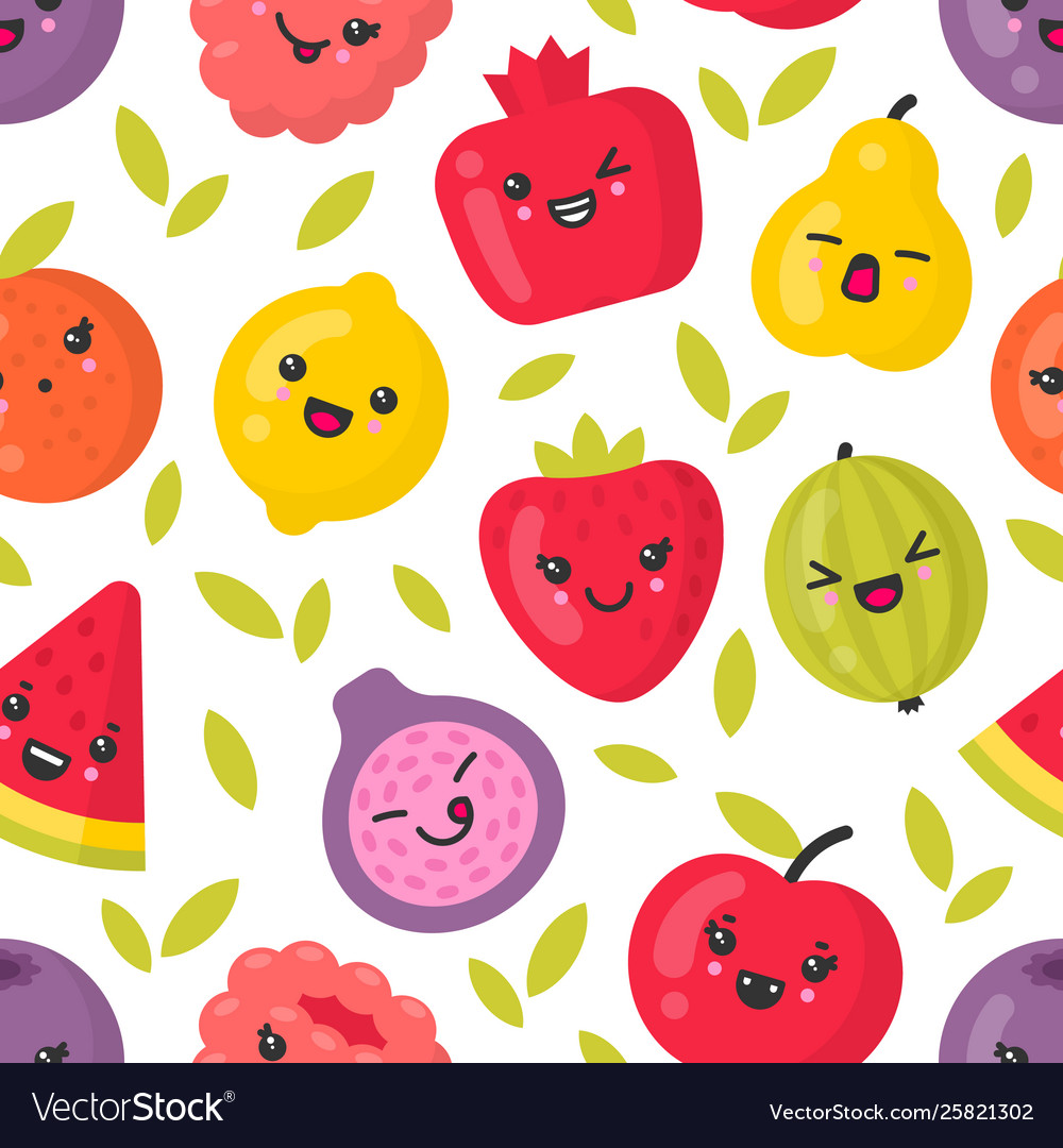 Cute smiling fruits seamless pattern on vector