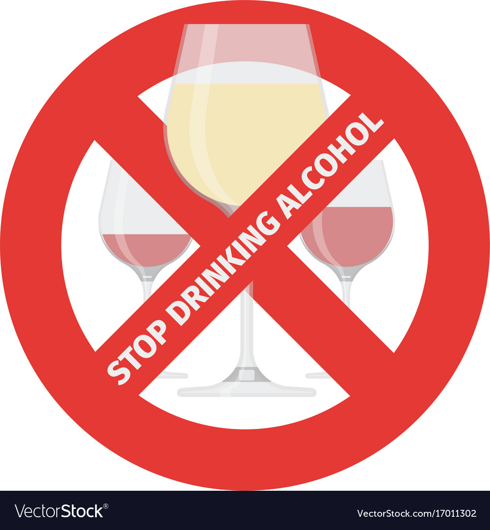 Flat stop drinking icon of alcohol glass
