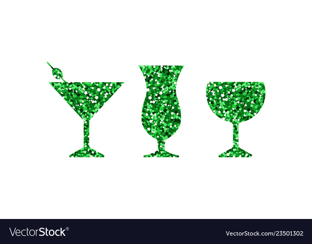 Green abstract cocktail icons