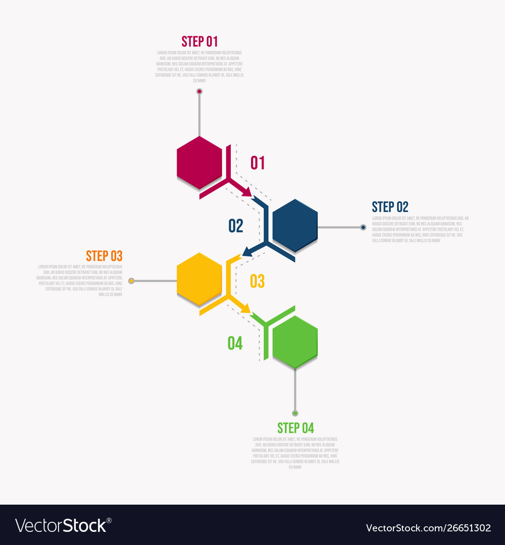 Infographic template with 4 steps workflow design