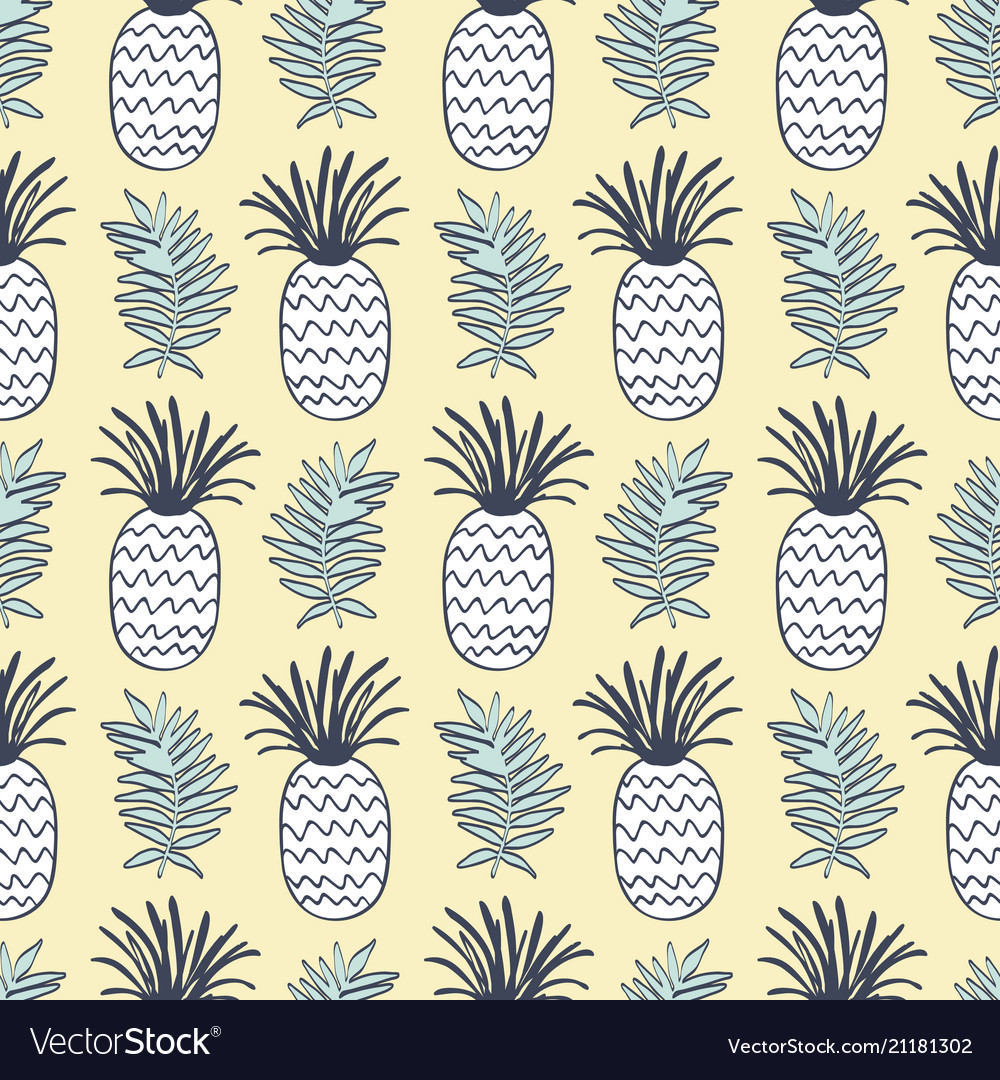 Pineapples and tropical leaves seamless pattern