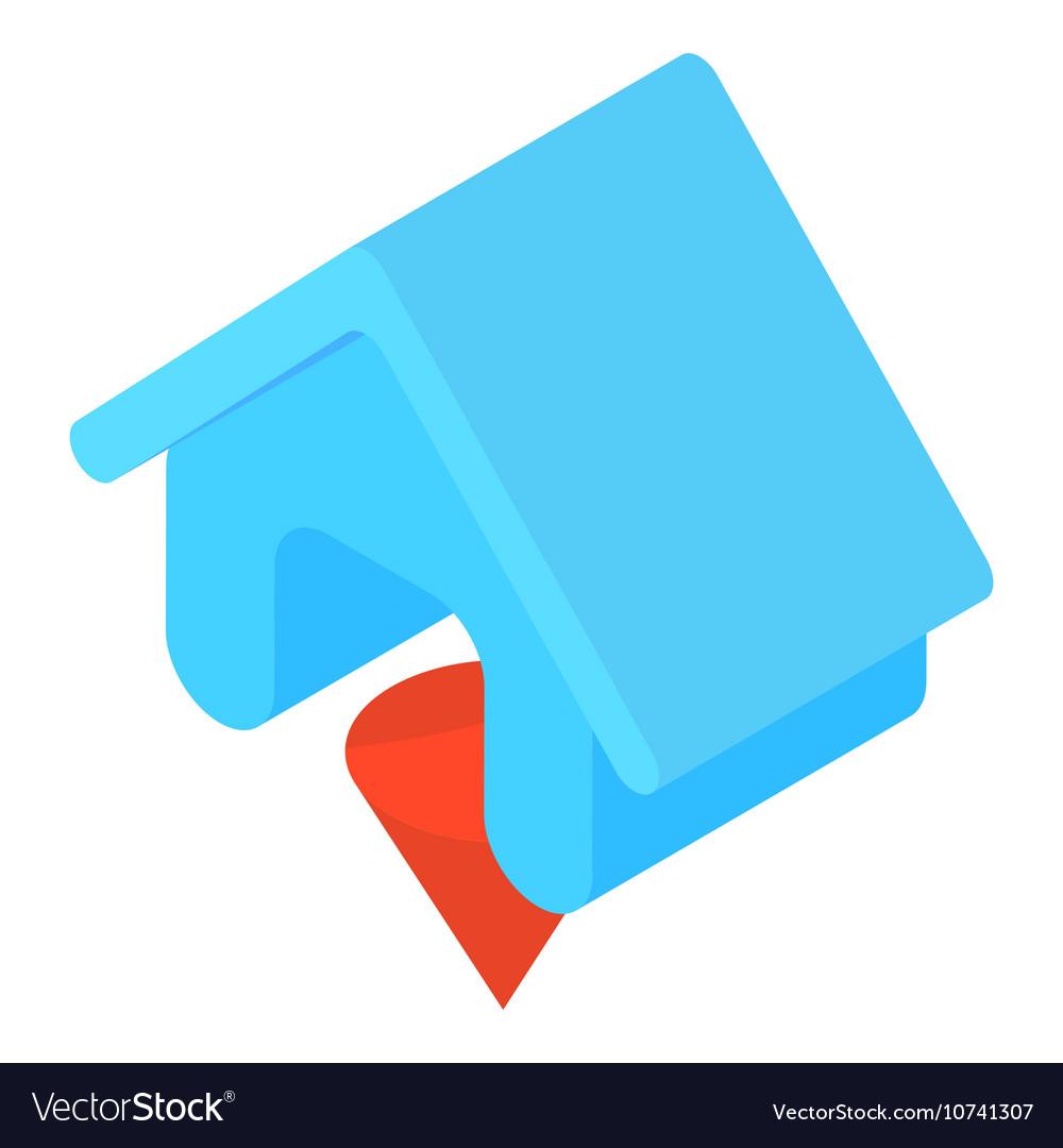 Blue house icon cartoon style
