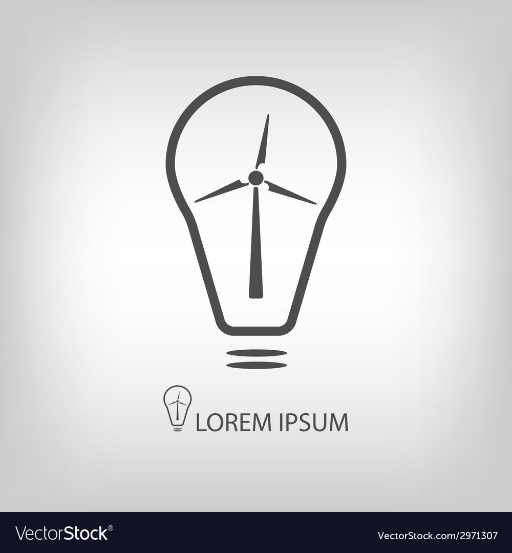 Bulb With Wind Turbine As Eco Energy Symbol Vector Image