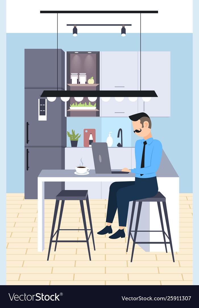 Businessman sitting at workplace desk business man