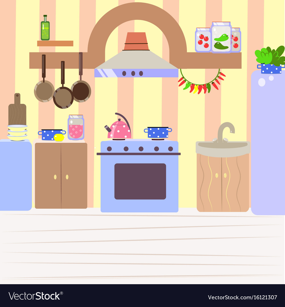 Cute cozy kitchen flat cartoon interior Royalty Free Vector
